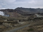 Desolate volcanic landscape of Aso-san