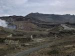 Desolate volcanic landscape of Aso-san