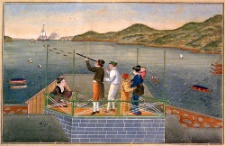 Dutch_trader_watching_an_incoming_VOC_ship_at_Dejima_by_Kawahara_Keiga