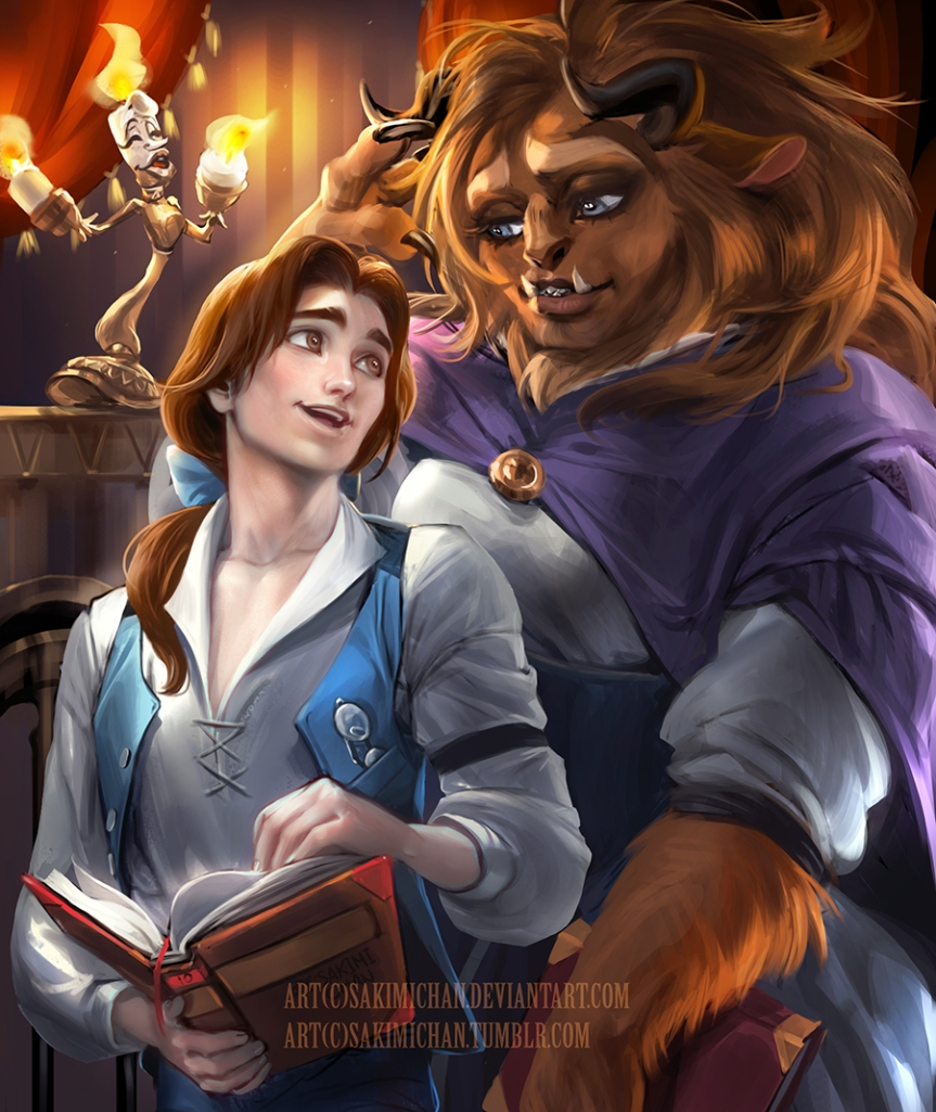 Male version of Belle and Female Version of the Beast